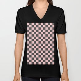 Gingham Millennial Pink Blush Rose Quartz Coco Brown Neapolitan Checked Unisex V-Neck