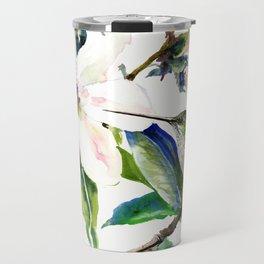 Hummingbird and Magnolia Flowers, Green Soft Pink floral design vintage style Travel Mug
