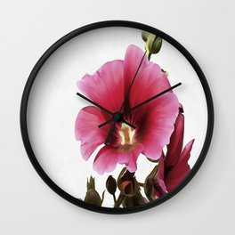 Pink Hollyhock Wall Clock