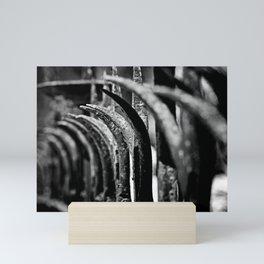 Rustic Fence-B&W Mini Art Print