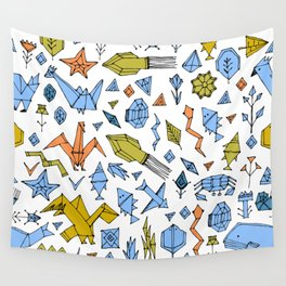 Marine animals and plants, Stylized origami Wall Tapestry