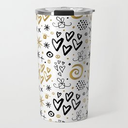 Christmas Pattern Gold Travel Mug