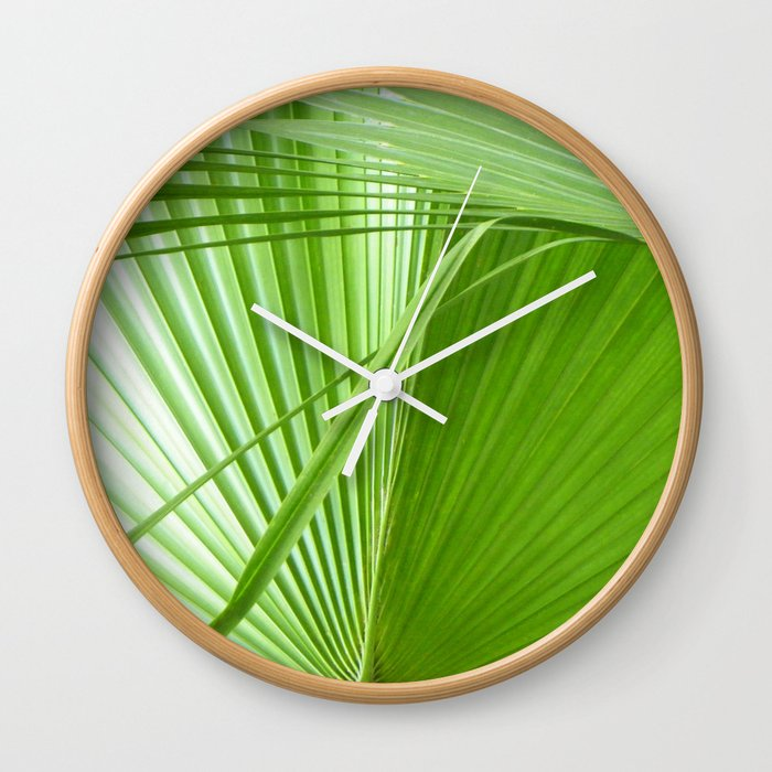 Palm Leaves // Tropical Wall Art, Beach Cottage Decor, Coastal Art Wall  Clock