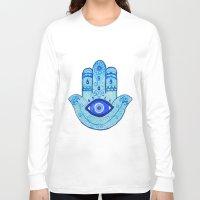 islam Long Sleeve T-shirts featuring Hamsa - Blue by Hayley Lang
