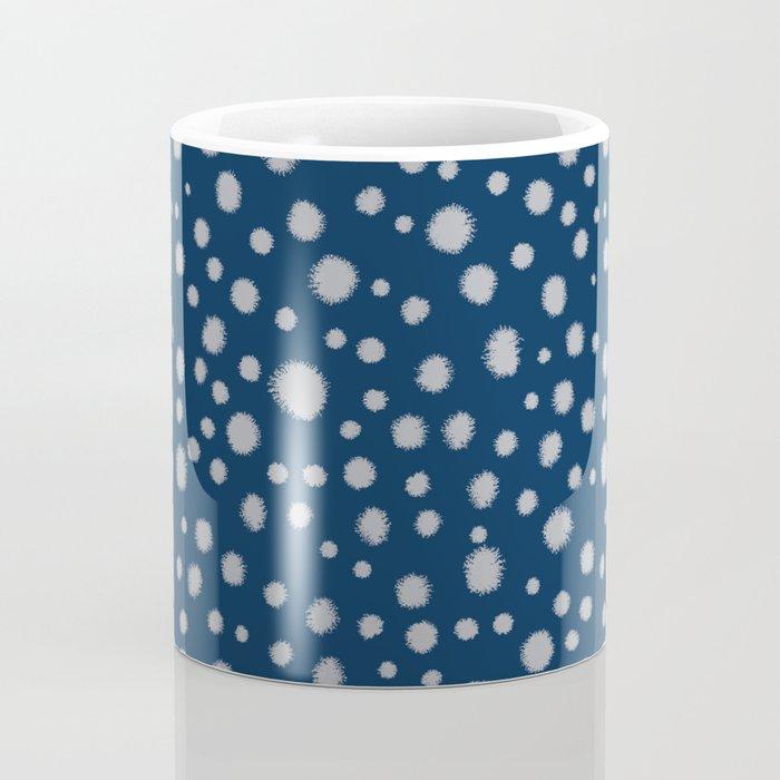 Navy painted dots polka dots minimal basic decor grey and blue pattern Coffee Mug
