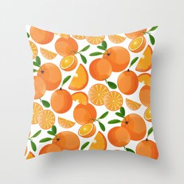 Orange Fruit And Slices Pattern Throw Pillow