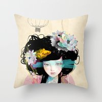 hair Throw Pillows featuring Nenufar Girl by Ariana Perez