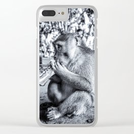 animals, monkey, zoo, park, holiday, coke, black and white Clear iPhone Case