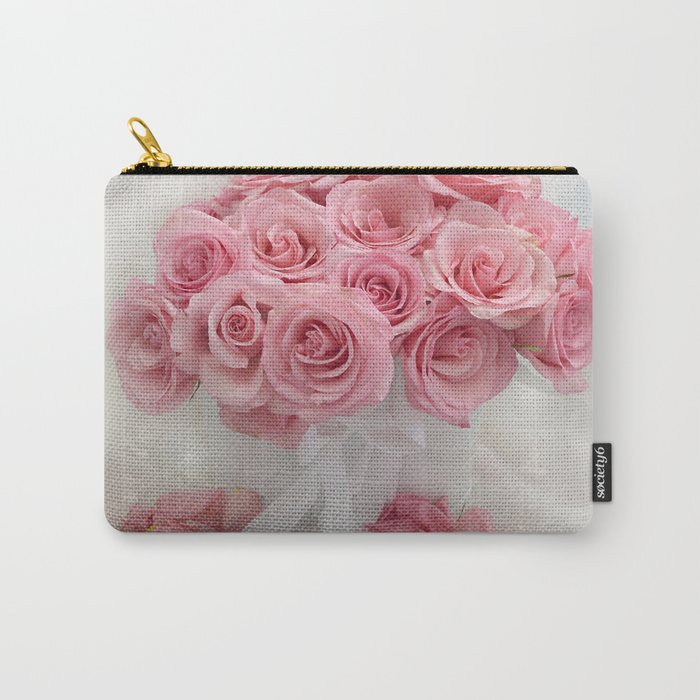 Pink Roses White Roses Shabby Chic Romantic Floral Home Decor Carry-All Pouch