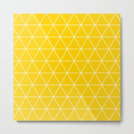 Triangle yellow-white geometric pattern Metal Print