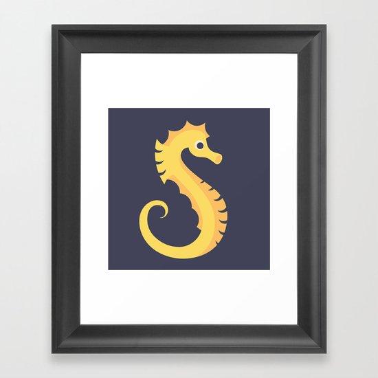 Letter S // Animal Alphabet // Seahorse Monogram Framed Art Print