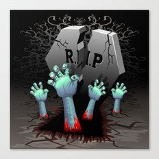 Zombie Hands on Cemetery Canvas Print