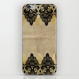 Elegance- Ornament black and gold lace on grunge paper backround iPhone Skin