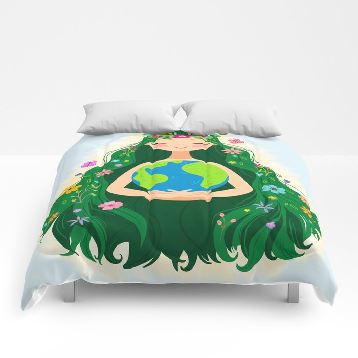 Beautiful Flowing Flower Earth Mother Figure Comforters