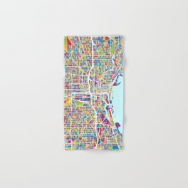 Milwaukee Wisconsin City Map Hand & Bath Towel