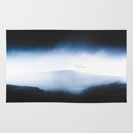 Misty Mountains Low Cloudy Sky Birds Landscape Rug