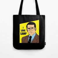 will ferrell Tote Bags featuring I love lamp - Brick Tamland by Buby87