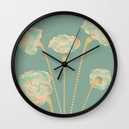 Line Carnations 1a Wall Clock