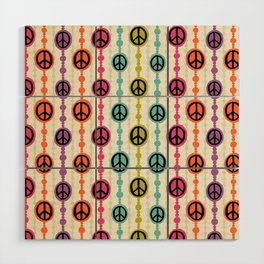 Peace Signs Hippie Beaded Curtain Wood Wall Art