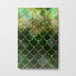 Green & Gold Mermaid Scales Metal Print