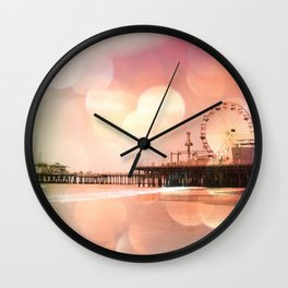 Sparkling pink Santa Monica Pier Wall Clock