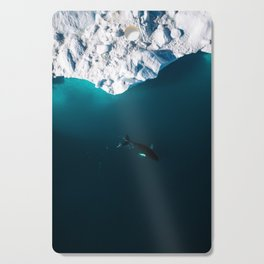 Lone Humpack Whale with Iceberg - Wildlife aerial Cutting Board