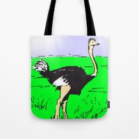 ostrich Tote Bags featuring Ostrich by wingnang