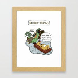 Reindeer Therapy Framed Art Print