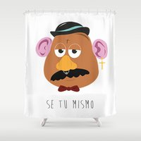 potato Shower Curtains featuring HIPSTER POTATO by Mike Wasousky Design