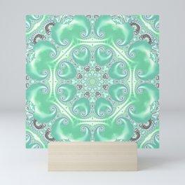Turquoise Fractal Kaleidoscope Mini Art Print