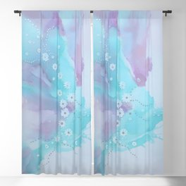 floating flowers blue Blackout Curtain