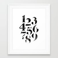 numbers Framed Art Prints featuring Numbers by Sibling & Co.