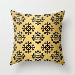 Black on Gold Repeating Tile Digital Design Throw Pillow