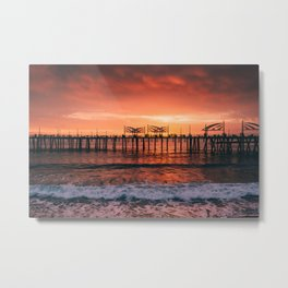 Redondo Beach Pier Sunset Metal Print