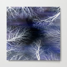 Abstract Midnight Trees Metal Print