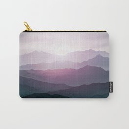 dark blue mountain landscape with fog and a sunrise and sunset Carry-All Pouch