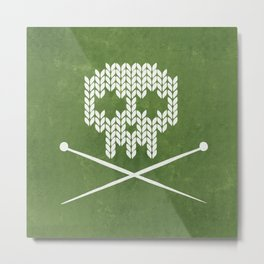 Knitted Skull - White on Olive Green Metal Print