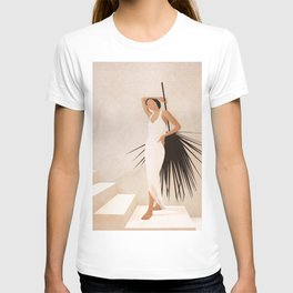 Minimal Woman with a Palm Leaf T-shirt