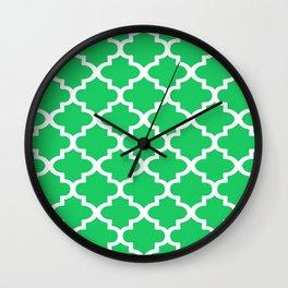 Arabesque Architecture Pattern In Zen Green Wall Clock