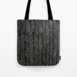 Herringbone Cream on Black Tote Bag
