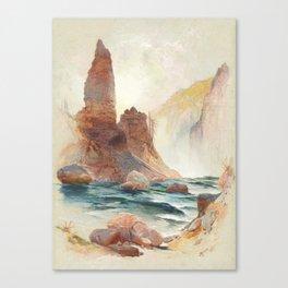 Tower at Tower Falls, Yellowstone 1872, Thomas Moran Canvas Print