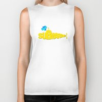 submarine Biker Tanks featuring Yellow Submarine by Tali Rachelle