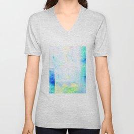 White & Aqua Abstract  Unisex V-Neck