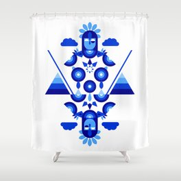 Libra in Blue Shower Curtain