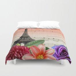 Flowers & Music in Paris Duvet Cover