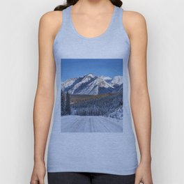 Winter Wonderland - Road in the Canadian Rockies Unisex Tank Top