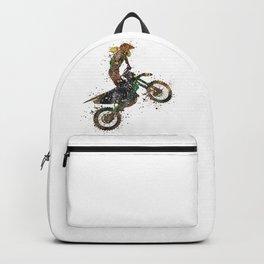 Girl Motocross Dirt Bike Colorful Watercolor Supercross Art Backpack