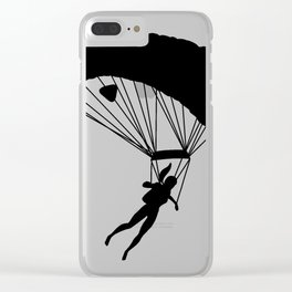 Black silhouette of a girl with ponytail doing parachute jumping exercises Clear iPhone Case