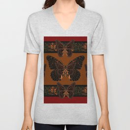 BLACK  MONARCH BUTTERFLIES,COFFEE BROWN-BURGUNDY ART Unisex V-Neck