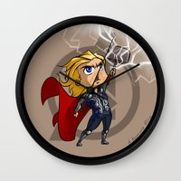 thor Wall Clocks featuring Thor by Meekobits